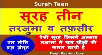Surah Teen ( Wat Teeni Waz Zaitoon ) Hindi Translation | सूरह तीन हिन्दी तर्जुमा